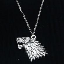 20 шт., новинка, модное ожерелье 32x44 мм, Ледяной и Огненный волк, серебряные подвески, короткие, длинные, для женщин и мужчин, ожерелье, подарок, ...