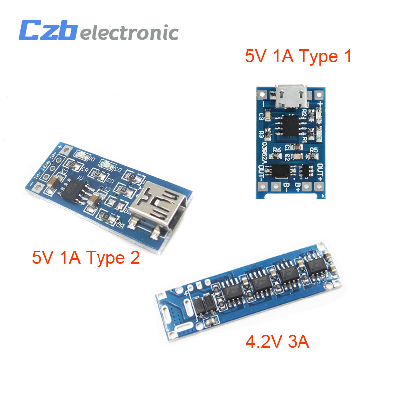 Micro USB 5V 1A 4.2V 3A 18650 TP4056 Lithium Battery Charger Module Charging Board With Dual Functions