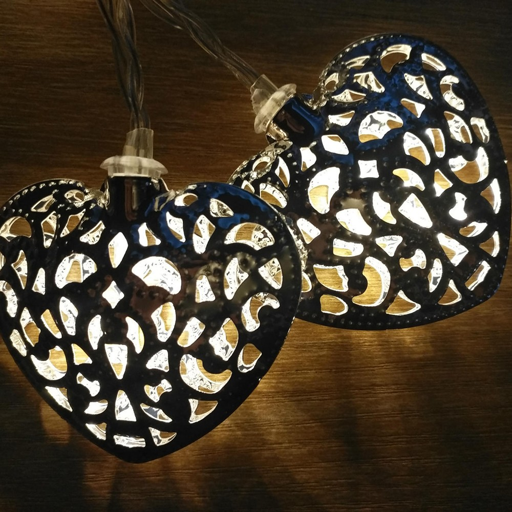 Creative Light String Love Heart Battery Powered Metal Shape LED Lovely Christmas Home Decor Led