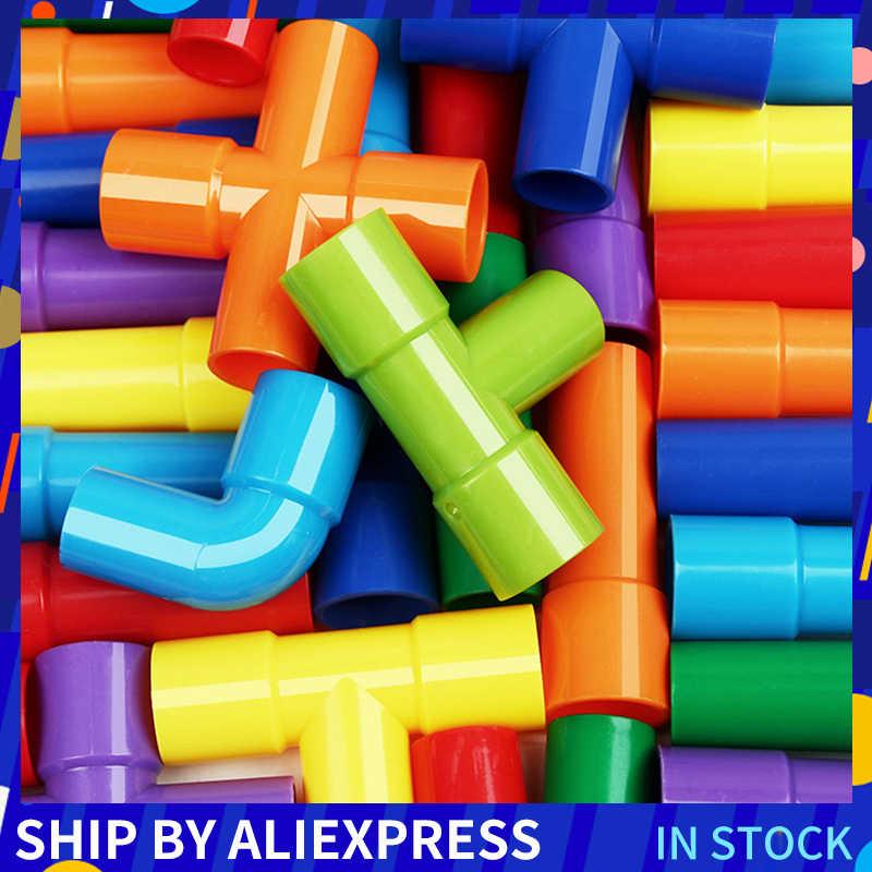 DIY Wasser Rohr Bausteine Spielzeug Erleuchtenden Pipeline Tunnel Bau Pädagogisches Spielzeug Lernen Spielzeug Für Kinder Ziegel