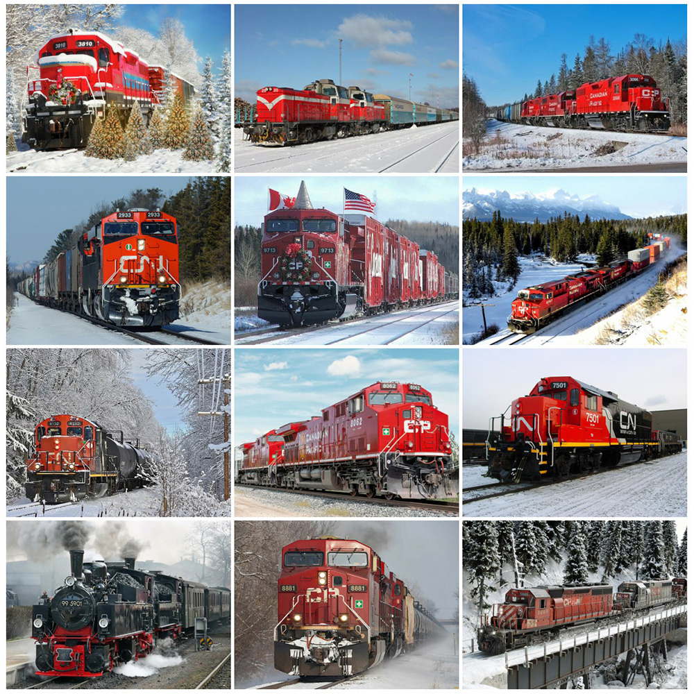 EverShine Алмазная картина с изображением поезда вышивка из бисера Бриллиантовая мозаика пейзаж ручной работы подарок зимняя настенная живопи...