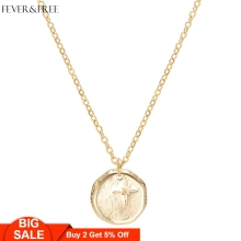 Fever&Free Trend Jewelry Shiny Gold Rune Pendant Necklaces Irregular Delicate Engrave Collar Necklace Classic Collier Femme Gift