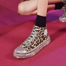 Spring New Leopard Flat Canvas Shoes Rivet Female Korean Version of The Wild Board Harajuku Ulzzang Womens