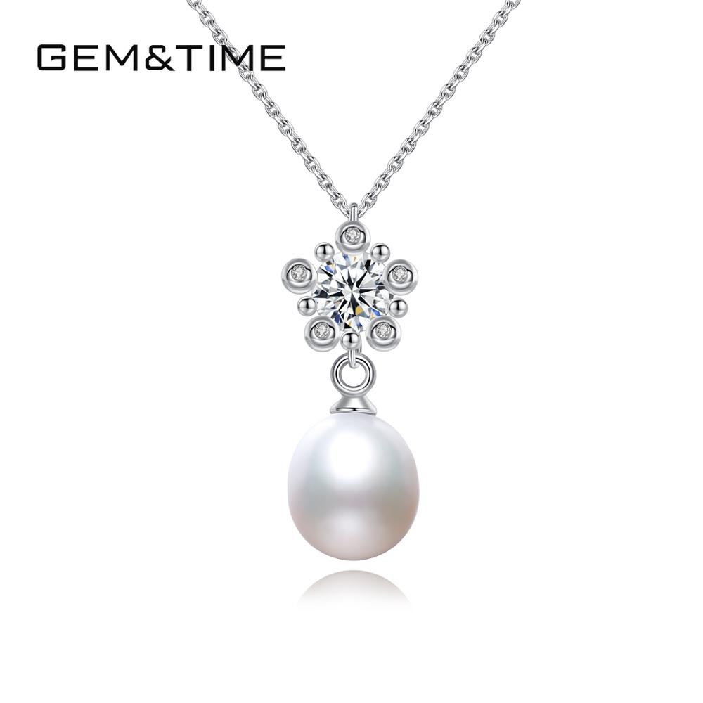 Gem&Time Genuine Freashwater Pearls Pendant Necklace 925 Sterling Silver Chian Necklace Gold Plated CZ Fine Jewelry FN-0216(China)