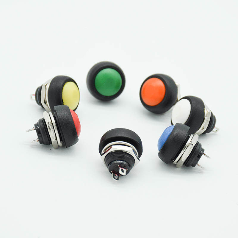 6Pcs 12mm Red Green Yellow Blue Black White Head Momentary Push Button Switch