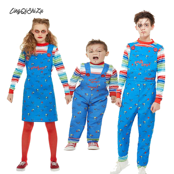 цена на Kids Halloween Costume For Boys Christmas Clothes Children's Play Clothes Chucky Costume Printed Cosplay Jumpsuit Boy 62965
