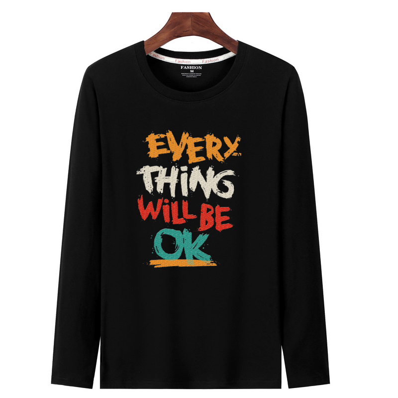 Japanese Male Hip hop Streetwear Long Sleeve Fitness Tshirts Men pattern Printed pure cotton T Shirt Bottoms Top Tee gym clothes