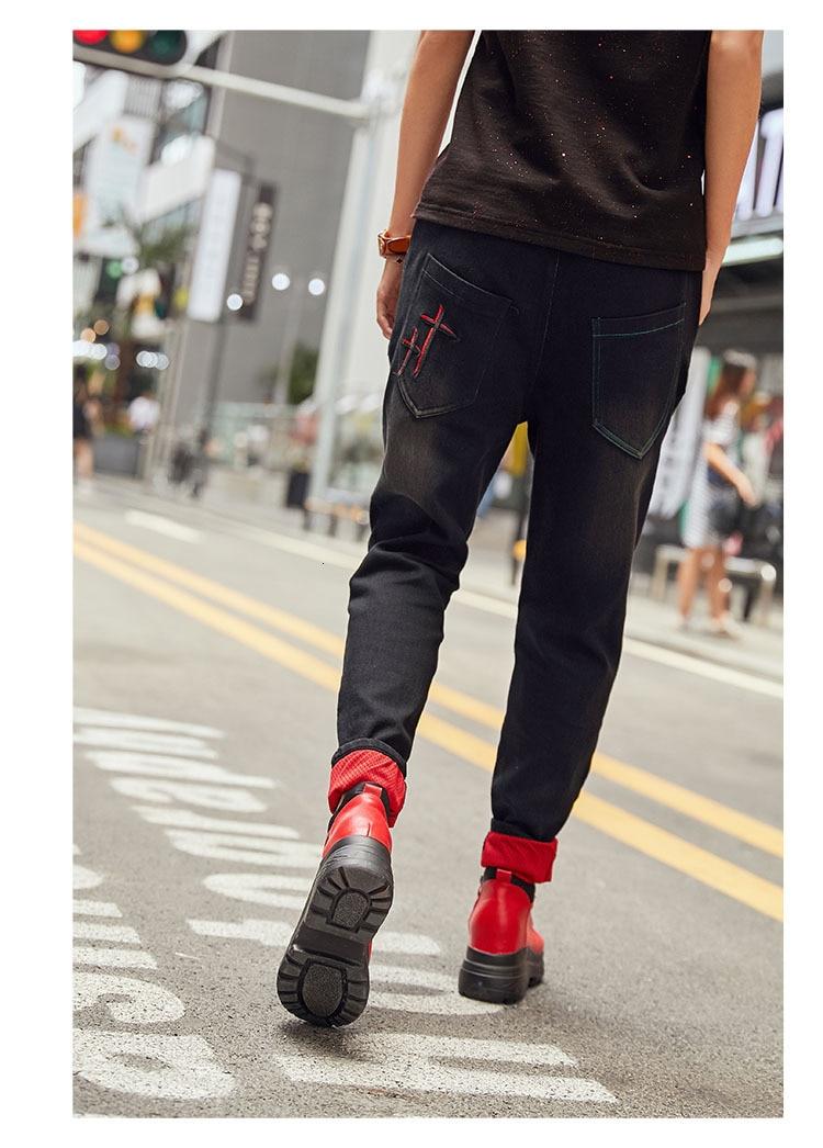 最大ルル春のファッションヴィンテージ弾性ハーレムパンツ韓国レディースブラックスキニーリッピング Health Natural 本日の割引 17