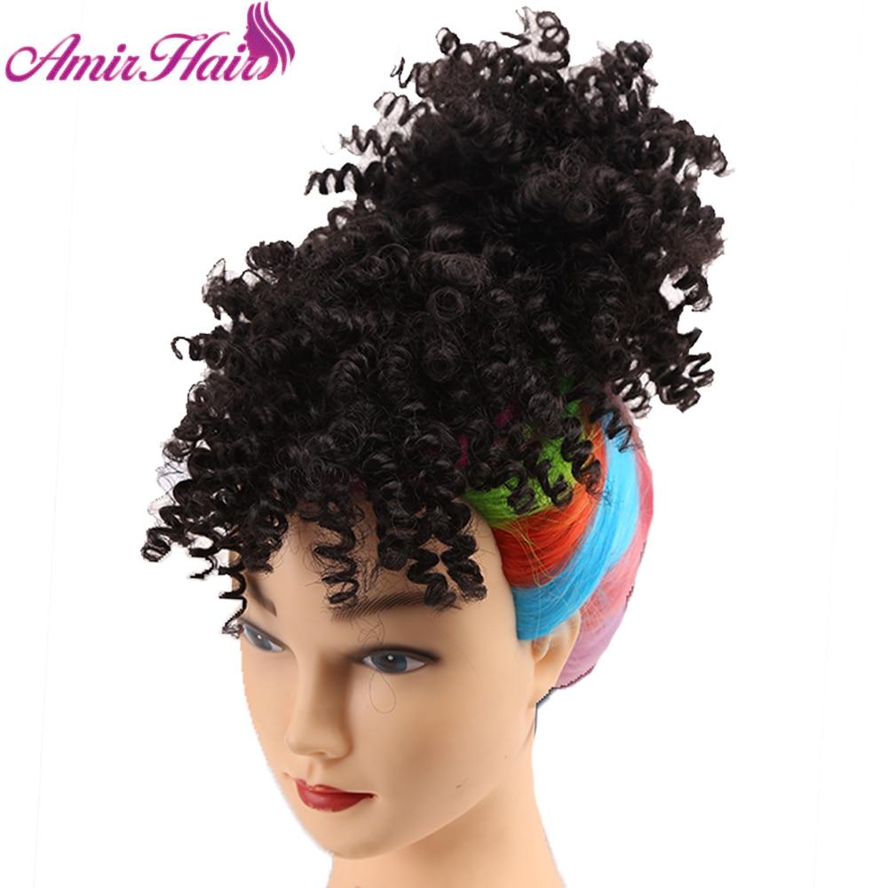 Free ShipSynthetic-Hair-Extensions Ponytail Fake-Hair Afro Amir Bangs Hair-Drawstring Kinky-Curly-Puff[