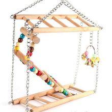 Попугай скалолазание лестница качающаяся птица хомяк мост деревянные качели игрушки маленький питомец лестница стойка платформа клетка аксессуары