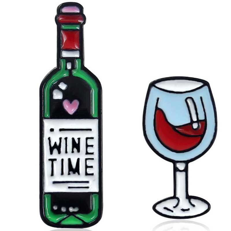 มินิน่ารัก Wine Time แว่นตาไวน์และไวน์คู่ Pins ขวดไวน์แดงถ้วยเข็มกลัดป้ายเคลือบฟันสำหรับคนรักเพื่อนที่ดีที่สุด Pins