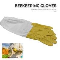Bienenzucht Handschuhe Schaffell Anti-biene Werkzeuge Für Imker Schutz Ärmeln Leinwand Handschuh Bienenzucht Ausrüstung