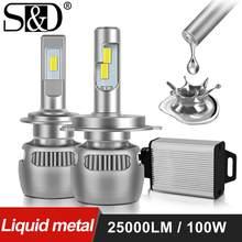 Phare antibrouillard de voiture en métal liquide, 100W 25000Lm H4 H1 H11 H7 Canbus H8 H9 9005 HB3 9006 HB4