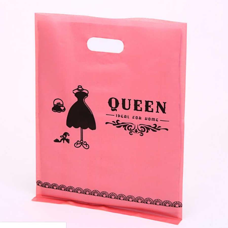 D & P 20*25cm 10pcs תודה מתנת תכשיטי פלסטיק חבילה לשאת תיק חתונה בוטיק המפלגה מתנה קניות פלסטיק ידית תיק