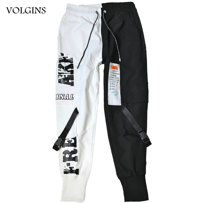 Streetwear Men Ribbons Block Black Pocket Cargo Pants 2020 Harem Joggers Harajuku Sweatpant Hip Hop Trousers Men Dropshipping