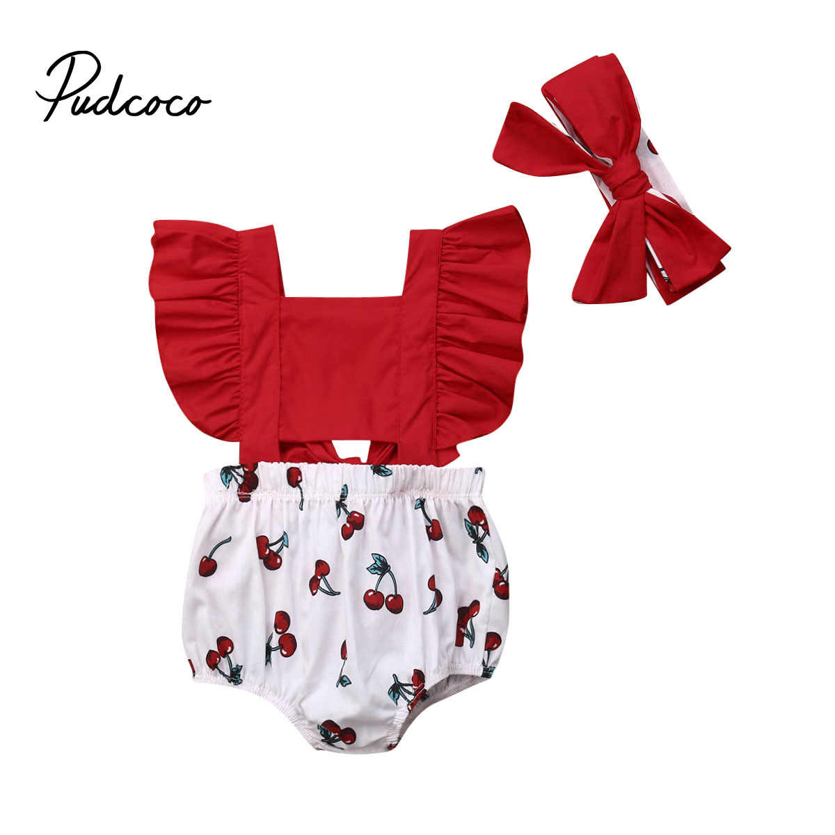 2020 Baby Zomer Kleding Kids Pasgeboren Baby Meisjes Ruches Romper Hollow Out One-Pieces + Hoofdband Cherry Print Jumpsuit outfit