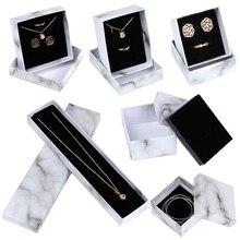 Мода ювелирные изделия аксессуары бумага мрамор упаковка коробка простой ожерелье серьги браслет коробка классический хранение ювелирные изделия коробка