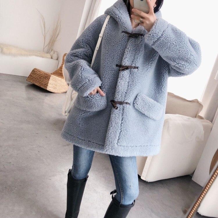 Осень зима 2019, женские корейские колледжа, шерсть, крупные частицы, овечья шерсть, шапка, угловая пуговица, пальто ежедневный пиджак - 4