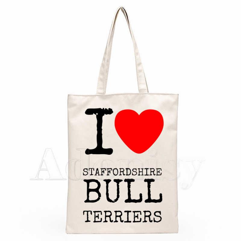 Taffordshire Bull Terrier Handtas Doek Canvas Draagtas Winkelen Reizen Vrouwen Eco Herbruikbare Schouder Shopper Tassen Bolsas De Tela