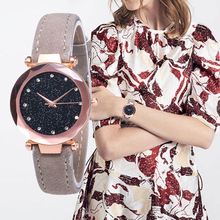 Starry Star Watches for Women Stylish Fashion Gold Silver Leather Belt Rhinestone Analog Quartz Wrist Watch Female Clock