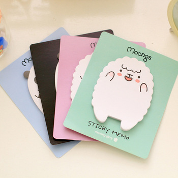 1 Pcs Note Paper Lamb and Bear Creative Cartoon Cute N Times Pastes This Handy Sticke Cute Sticky Notes image