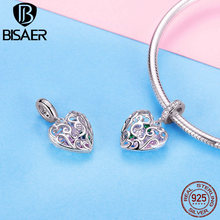 BISAER Hot Sale 925 Sterling Silver Cute Love Heart Pendant For Bracelet&Necklace Charm Fit Charms Jewelry Lover Gift HSC1126 bisaer authentic 925 sterling silver openwork heart gift box charms fit for women 3mm bracelet and necklace fine jewelry gxc1029
