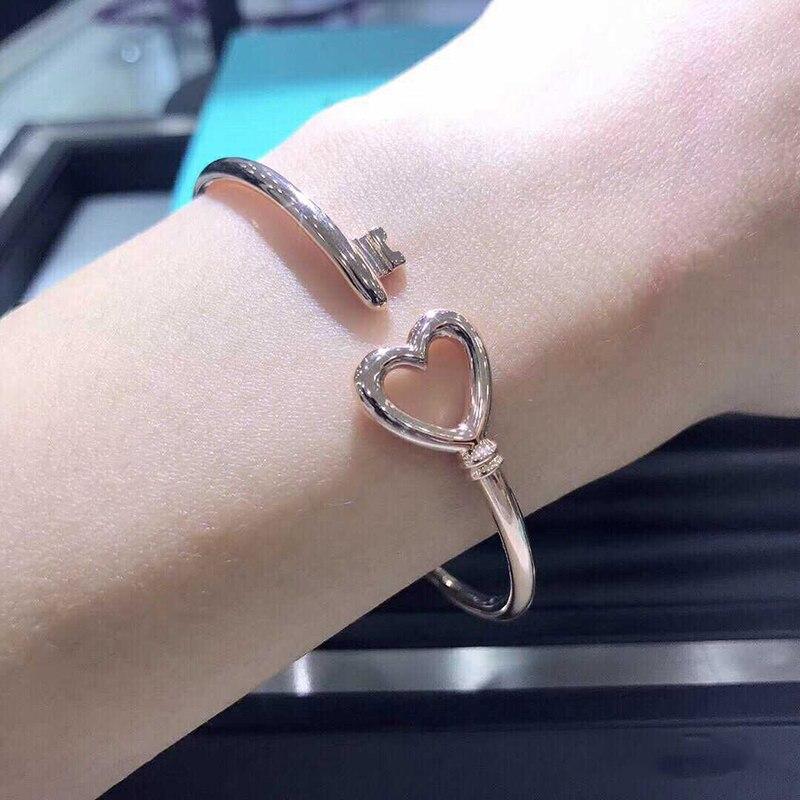 Femmes bracelet 925 bijoux en argent Sterling en forme de coeur ouverture argenterie Couple clé bracelet accessoires saint valentin cadeau - 5