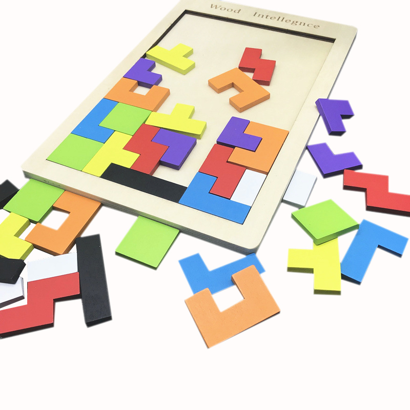 Montessori  Wooden Math Tangram Brain-Teaser Puzzles Wood Tetris Game Cognition Hands Brain Training Early Toy For Children Gift