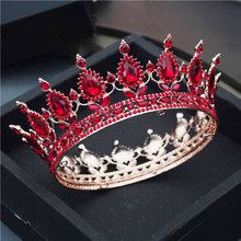 Gorgeous Tiaras and Crowns Red Diadem Royal Queen King Head Ornaments Bridal Wedding Hair Jewelry Pageant Party Accessories(China)