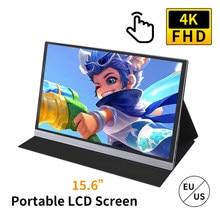 Tragbare 15,6 zoll 4K LCD Bildschirm 72% NSTC 16,7 Millionen Farben Gaming Monitor Tragbare Display IPS Panel Schnelle Reaktion touchScreen
