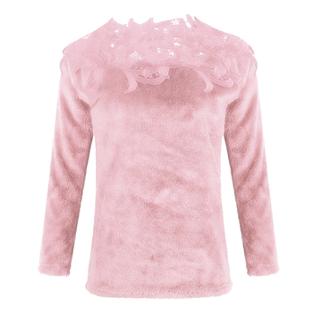 sweater  Autumn and winter ladies lace stitching solid color long-sleeved sweater 6