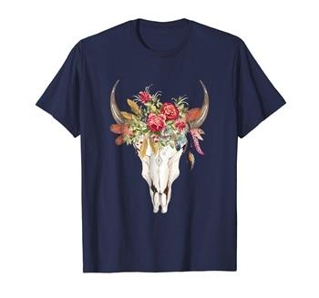 new men shirt Hippie Boho Cow Skull Graphic Shirt Boho Cowgirl TShirt