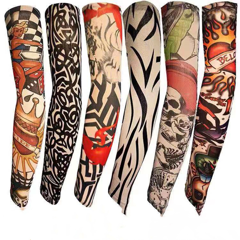 6 PcsTrendy Design Elastic Fake Tattoo Arm Cover Anti-Uv Nylon Tatoo Cool Arm Warmers Stockings Sleeves For Men Women