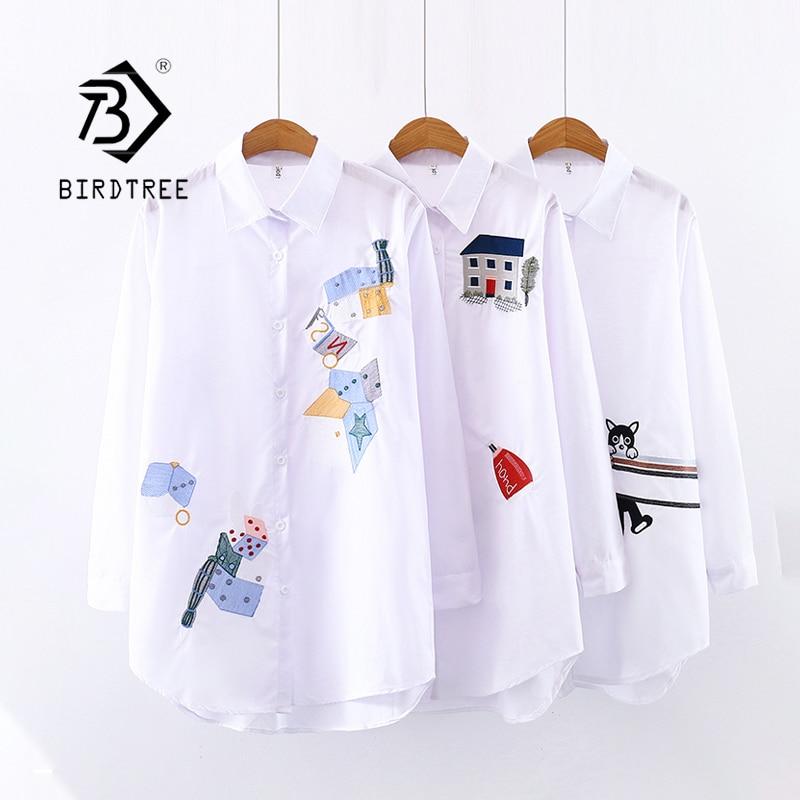 2020 New Women Embroidery Long Sleeve White Shirt Button Up Turn Down Collar Cute Cartoon Blouse Long Tops Feminina Blusas T9D62