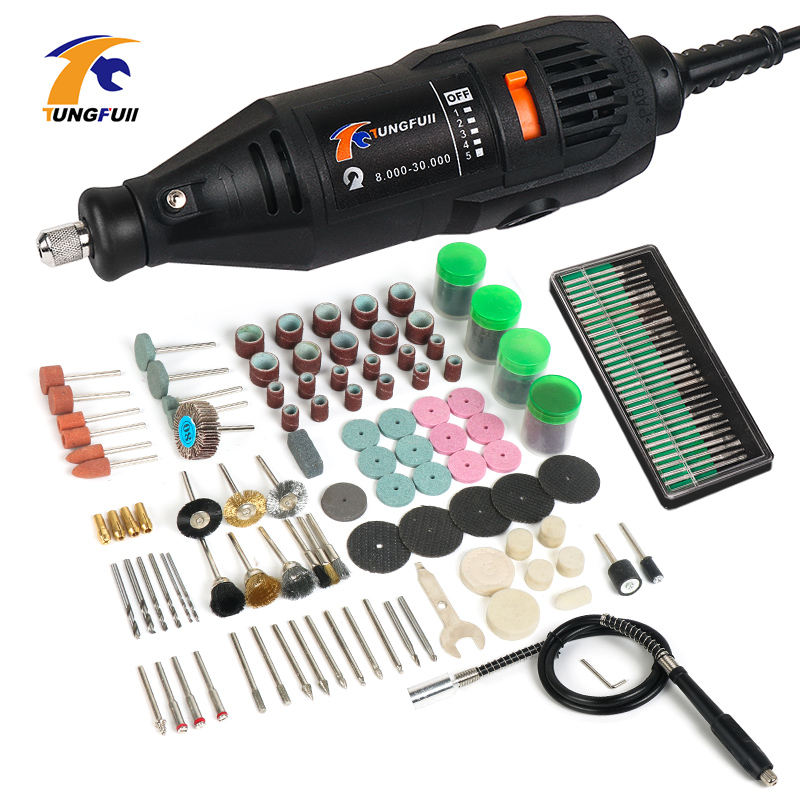 Tungfull Mini Drill 130W Drilling Machine 30000rpm Variable Speed Rotary Tools Electric Engraver For <font><b>Dremel</b></font> <font><b>4000</b></font> 3000 image