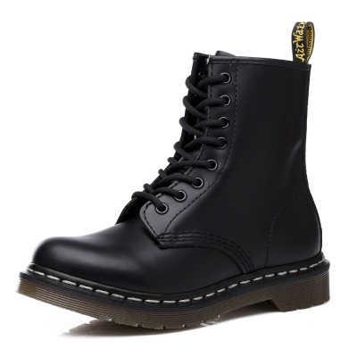 Erkek ayakkabısı yeni hakiki deri ayak bileği Martin çizmeler kadınlar için rahat Dr. motosiklet ayakkabı sıcak kış erkek botları iş güvenliği ayakkabıları