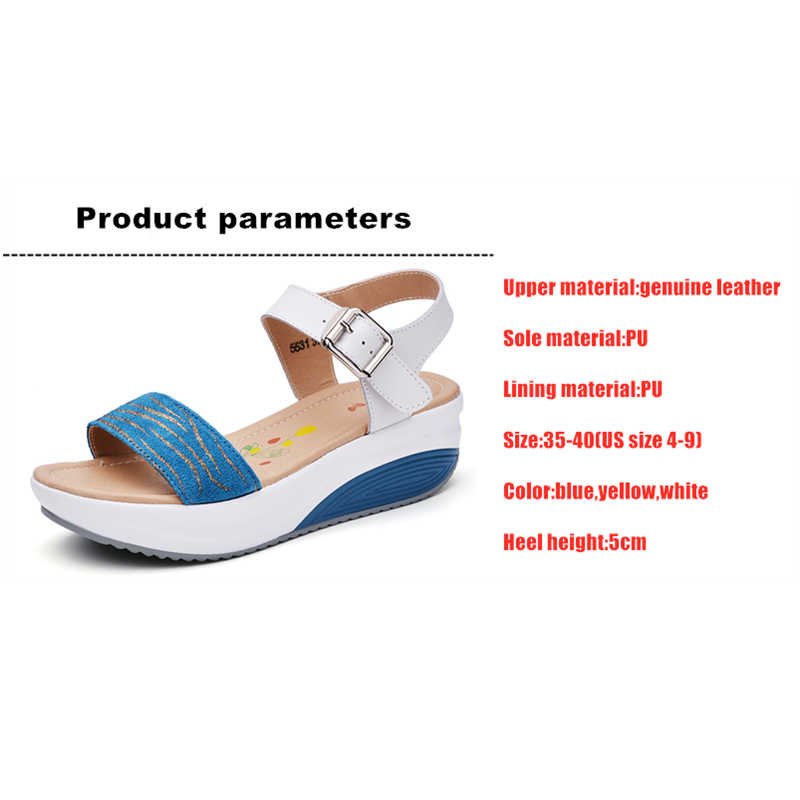 DONGNANFENG Women's Ladies Female Genuine Leather Shoes Platform Sandals High Heels Summer Cool Beach Flip Flop 35-40 CDBY-5531