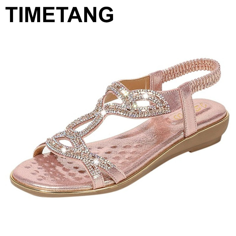 TIMETANG2020 Women Shoes Slope Heel Summer Shoes Bohemian Style Woman Crystal Low Heels Sandalia Feminina Fashion Sandals Zapato