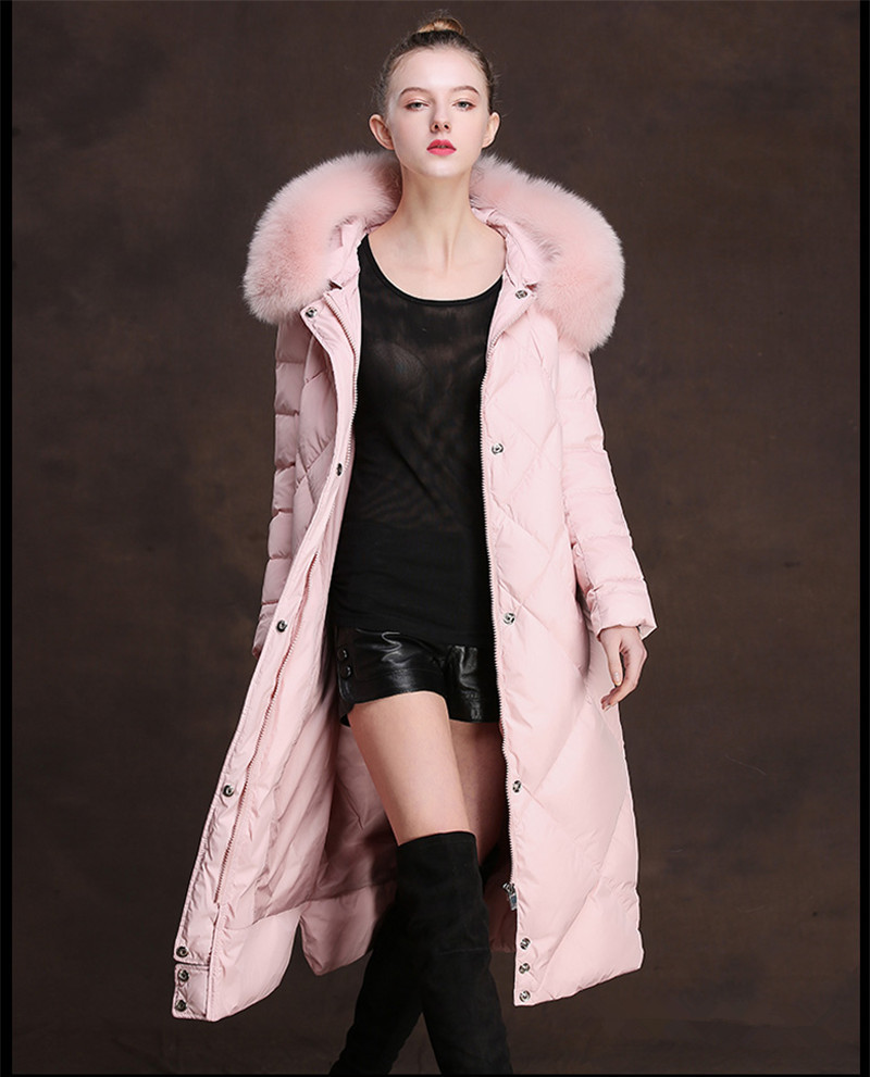 Fur Fox Women's Collar White Duck Down Jacket Winter Coat Female Hooded Jackets Padded Women Long Parkas Casacos WXF322 S