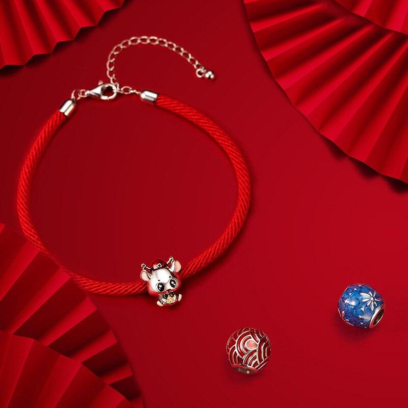 Wostu 100% real 925 prata esterlina corda vermelha pulseira clássico lucky bangle ajuste contas encantos diy jóias fazendo cqb166