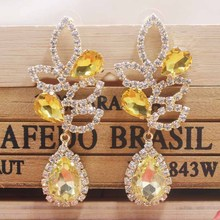 New design shiny yellow wedding /party earring women rose gold champagne Zerong new rhinestone