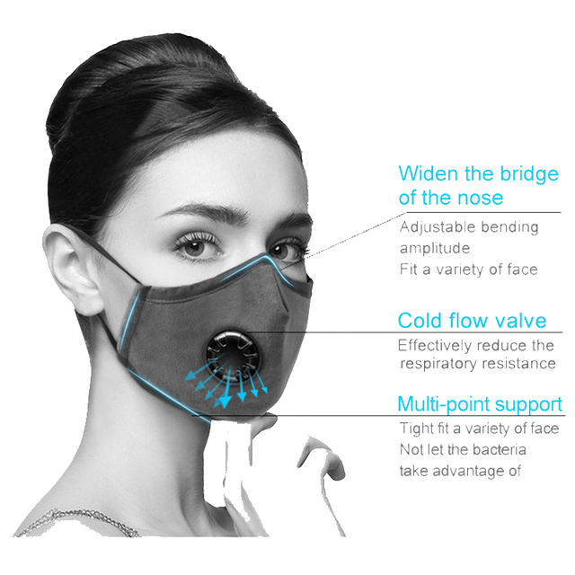 Cotton PM2.5 Mouth Mask With 5 Activated Carbon Filter Windproof Mask Reusable Mouth-muffle Men Women Face Mask 2