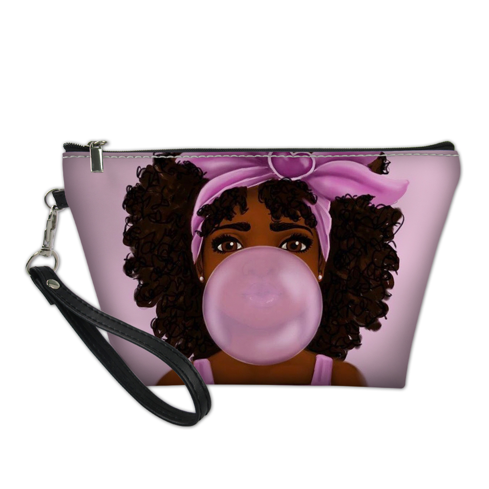 Thikin Cute African Girls Art Print Makeup Bag For Women Ladies Cosmetic Case Daily Handbag With Wallet Fashion Phone Pouch 2019