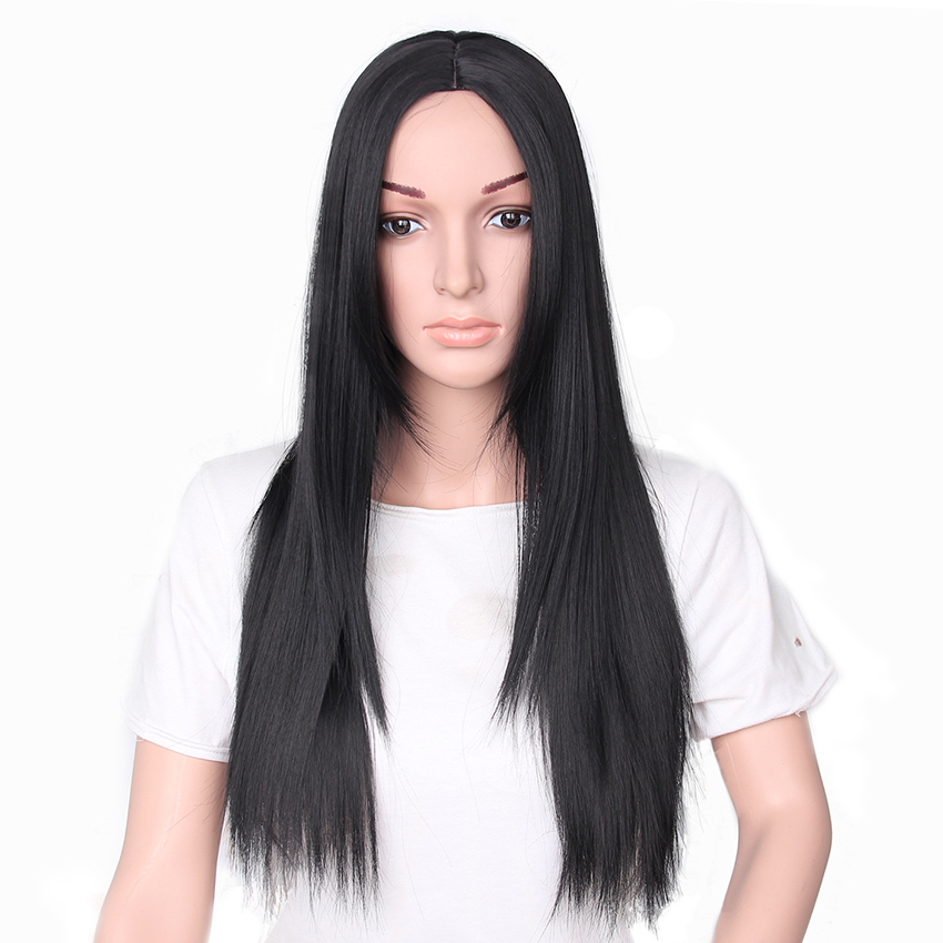 Synthetic Hair Wigs for Women Long Straight Lady Wig Black Color Heat Resistant Fiber
