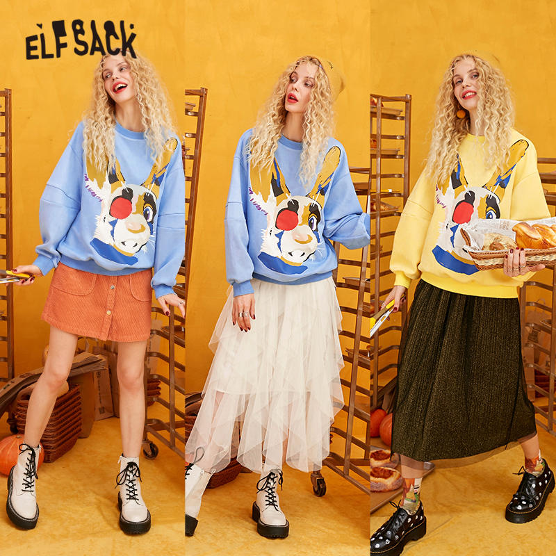Image 3 - ELFSACK Yellow Solid Cartoon Print Casual Pullover Sweatshirt Women 2020 Winter Blue Korean Lantern Sleeve Female Daily TopsHoodies & Sweatshirts   -