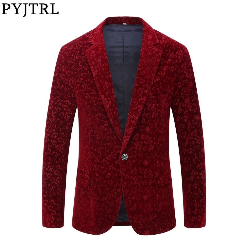 PYJTRL Men Autumn Winter Wine Red Burgundy Velvet Floral Pattern Suit Jacket Slim Fit Blazer Designs Stage Costumes For Singers