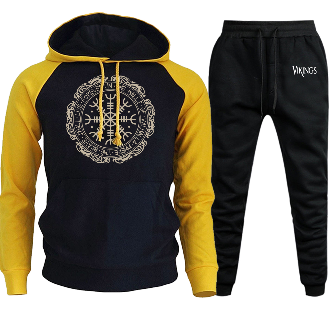 New Autumn Winter 2019 Streetwear Mens Hoodies Raglan Vikings Vintage Casual Pullover Suit Male Fleece Hooded+Pants 2 Piece Set