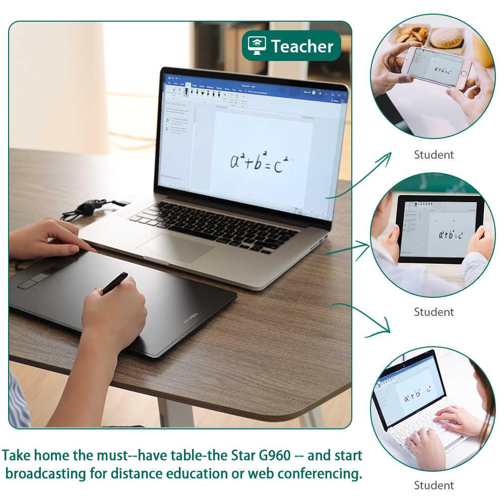 XP-Pen Star G960 8,35x5,33 Grafiken Tablet Digitale Zeichnung Tablet 8192 Ebenen Unterstützung Windows MAC Stift Tablet online Bildung