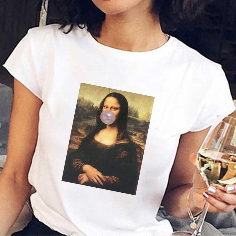 Mona Lisa Bubble Gum Chewing Gum T Shirt Women 2019 Summer Short Sleeve Printed Tshirt Fun Harajuku Vintage Plus Size T-shirt