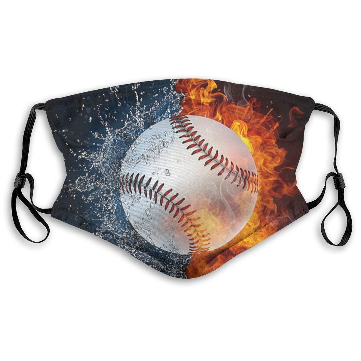 Mouth Mask With Filter Fire Water Baseball Ball Printed Dust Face Mask For Dust Mouth Mask Anti-Dust Mask For Kids Women And Men